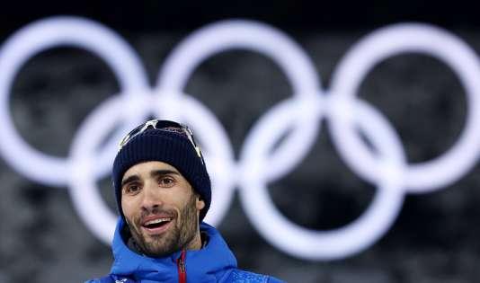 Martin Fourcade lors de sa remise des médailles du relais mixte, le 20 février à Pyeongchang.