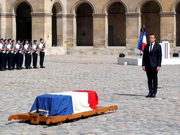 Aux obsèques de Simone Veil, le 5juillet 2017.