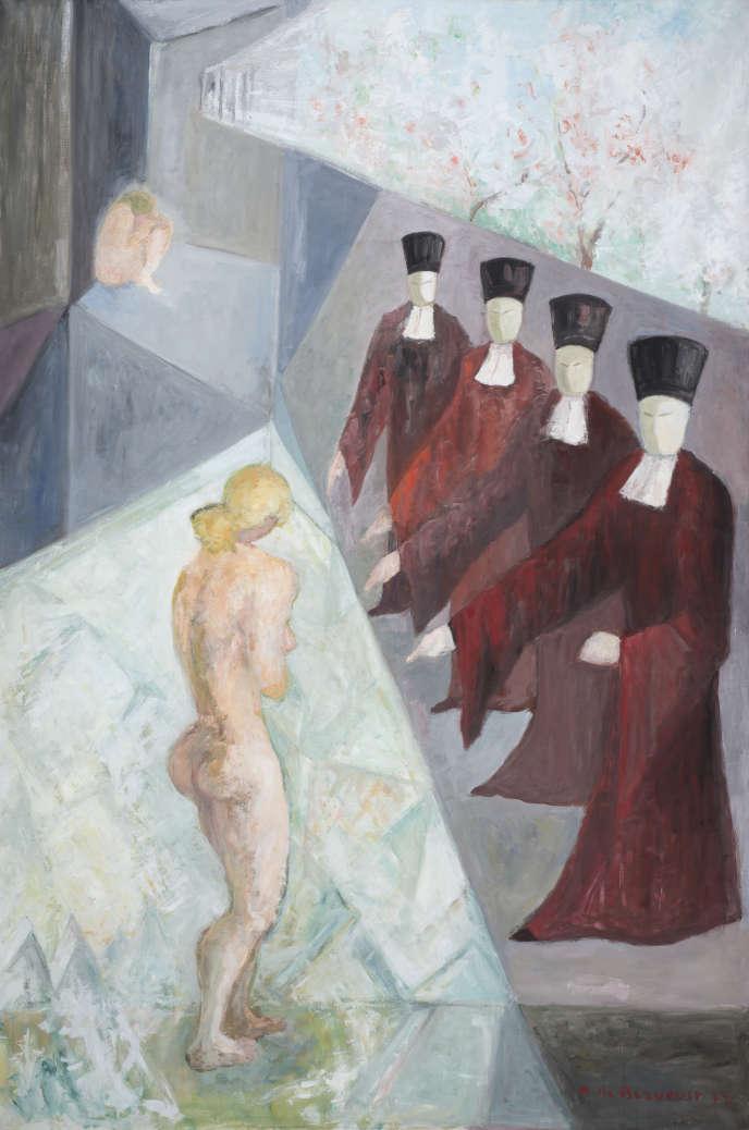 «Les femmes souffrent, les hommes jugent» (1977), d'Hélène de Beauvoir, huile sur toile, collection privée.