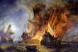 Toile du Combat de la Cordelière contre une flotte anglaise, en 1512 , au large de Saint-Mathieu.Peinte en en 1838, par Pierre-Julien Gilbert.
