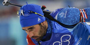 Martin Fourcade, of France, takes off from the shooting range during the 2x6-kilometer women's + 2x7.5-kilometer men's mixed relay biathlon at the 2018 Winter Olympics in Pyeongchang, South Korea, Tuesday, Feb. 20, 2018. (AP Photo/Gregorio Borgia)