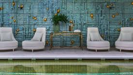 La piscine du Crillon, parée d'une mosaïque comprenant dix-sept mille pièces.