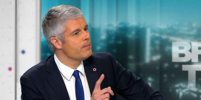 Laurent Wauquiez, président du parti Les Républicains, sur le plateau de BFM-TV, mardi 20 février à Paris.