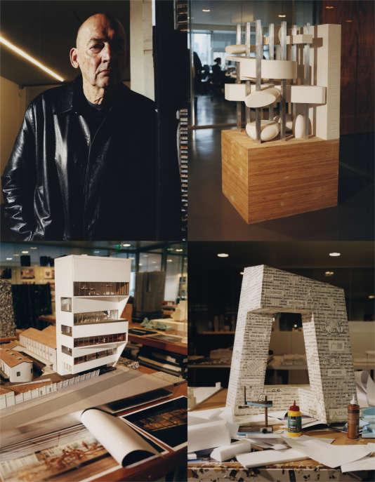 En haut, le projet refusé de Rem Koolhaaspour la Bibliothèque François-Mitterrand. Ci-dessus,ses maquettes pour la Fondation Pradaà Milan (à gauche) et pour la chaîne CCTV à Pékin.