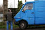 Un homme regarde en direction d'un camion appartenant à une prostituée, à Caen, dans le Calvados, le 30 novembre.