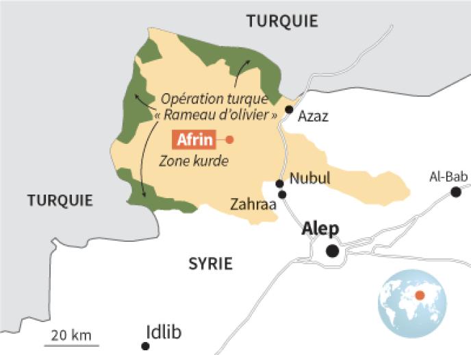 Afrin, situation au 21 février 2018