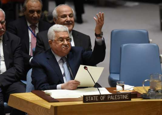 Le président de l'Autorité palestinienne, Mahmoud Abbas, lors du Conseil de sécurité de l'ONU le 20 février, à New York.