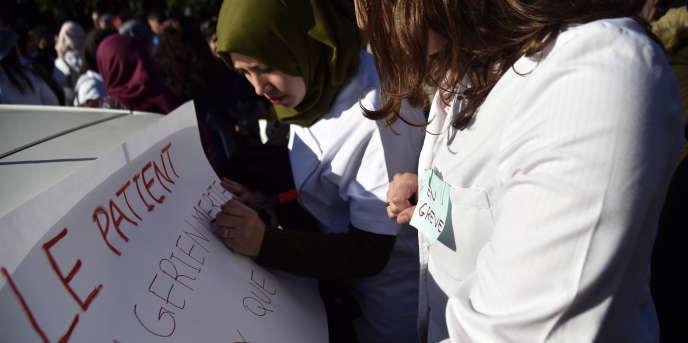 Manifestation de médecins résidents à Alger, le 30janvier 2018.