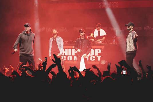 Nekfeu et son groupe S-Crew lors du Hip-Hop Convict, à la salle Pleyel, à Paris, le 20 février 2018.