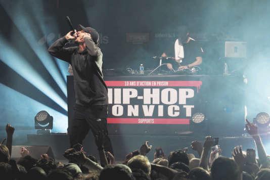 Nekfeu lors du Hip-Hop Convict, à la salle Pleyel, à Paris, le 20 février 2018.
