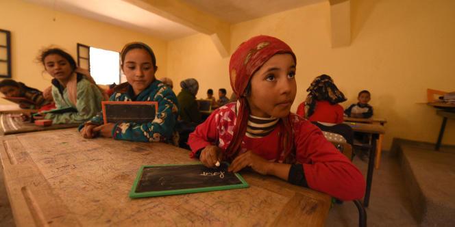 Dans une classe d'une école du Haut-Atlas, au sud de Marrakech, en mars 2016.