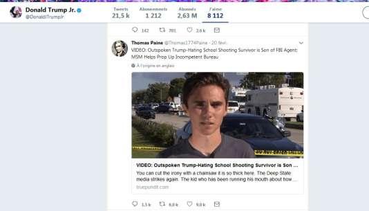 Sur Twitter, Donald Trump Jr. aime des publications conspirationnistes sur David Hogg.
