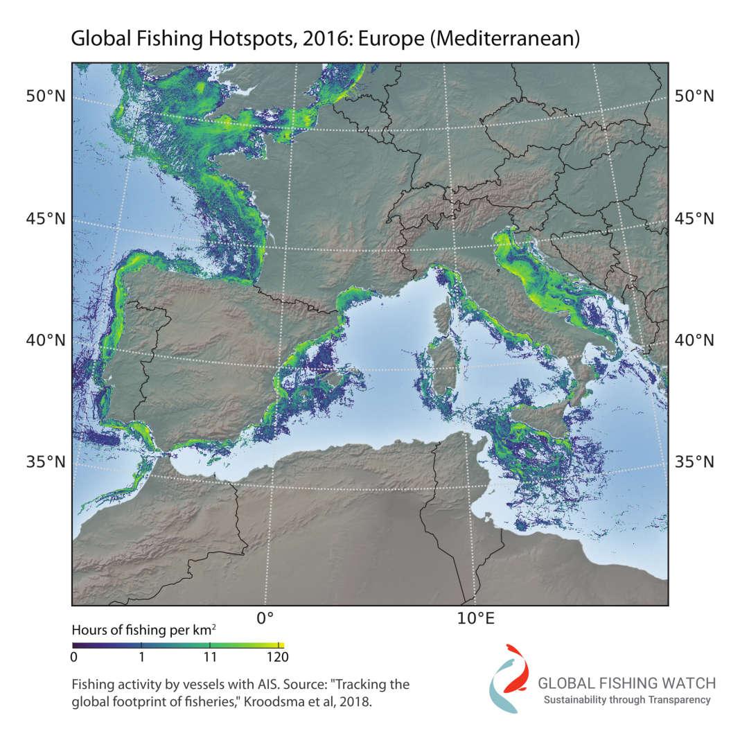 Les zones les plus concernées par la pêche en Europe du Sud.