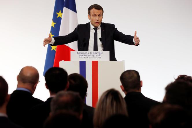 Macron devant les jeunes agriculteurs, le 22 février 2018.
