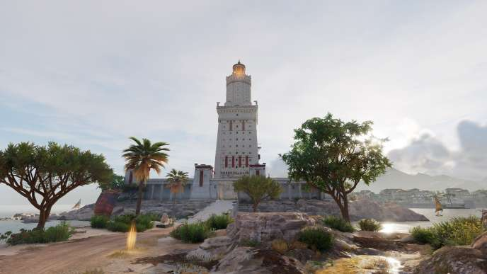 Le phare d'Alexandrie depuis l'île de Pharos.