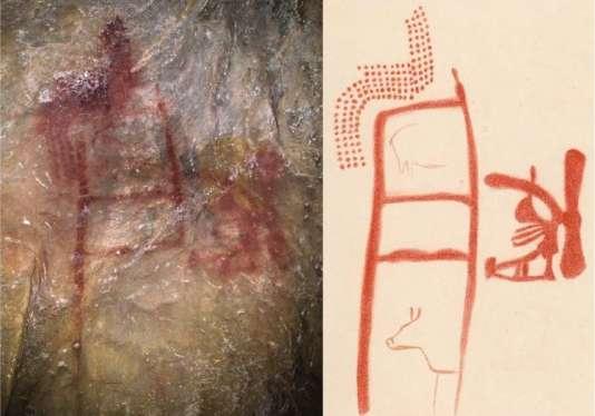 Détail d'une des peintures de la grotte de La Pasiega, avec, à droite, son interprétation.