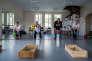 Cours de sport spécialisé dans la salle de danse de la médiathèque de Murat, dans le Cantal, avec un groupe de patients atteints de diabète.