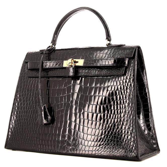 Sac Hermès Kelly 35 cm en crocodile porosus noir, années 1970.