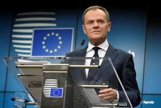 Donald Tusk, le président du Conseil européen, lors d'une conférence de presse, le 23 février.