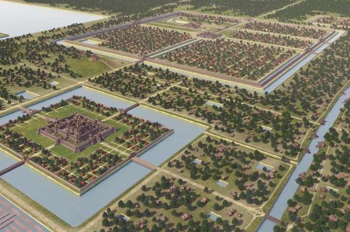 Une reconstitution 3D de la cité d'Angkor.