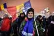 Manifestation, à Bucarest, jeudi 22 février.