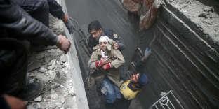 Dans la Ghouta orientale, en banlieue de Damas, le 22 février.