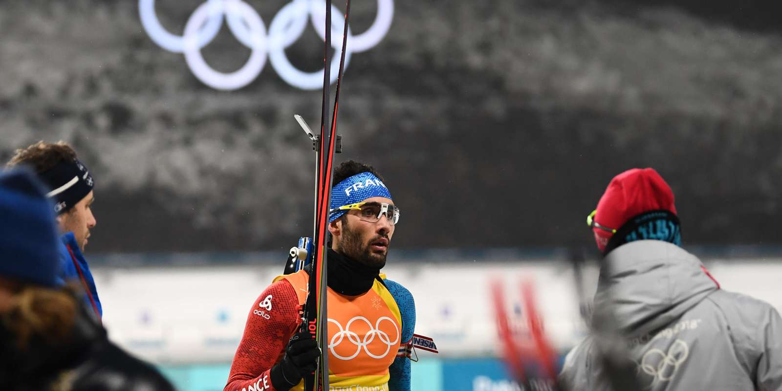 France's Martin Fourcade finishes his relay in the men's 4x7,5km biathlon relay event during the Pyeongchang 2018 Winter Olympic Games on February 23, 2018, in Pyeongchang. / AFP / FRANCK FIFE