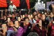 Rassemblement anti-junte militaire organisédans l'université Thammasat de Bangkok, le 24février 2018.