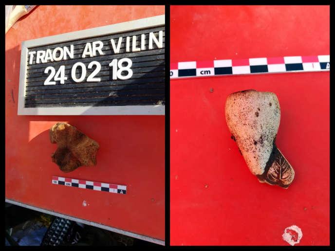 Photos des morceaux d'os et de pipe retrouvés lors de fouilles dans la maison où vivait la famille Seznec à Morlaix (Finistère).
