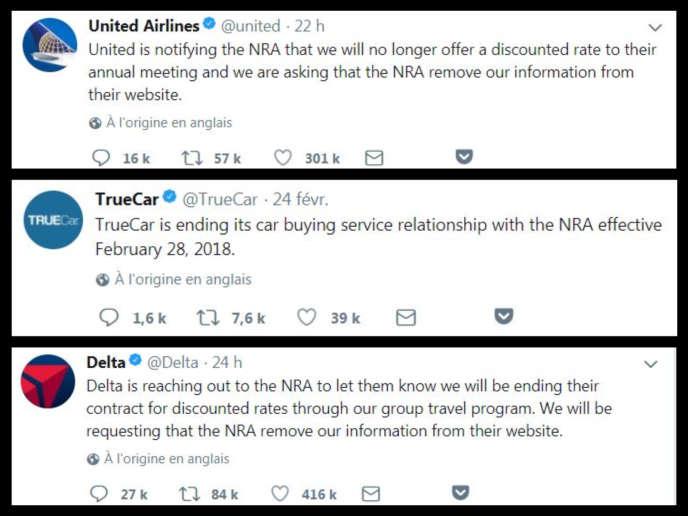 Capture d'écran des messages publiés sur Twitter par United Airlines, TrueCar et Delta Airlines.