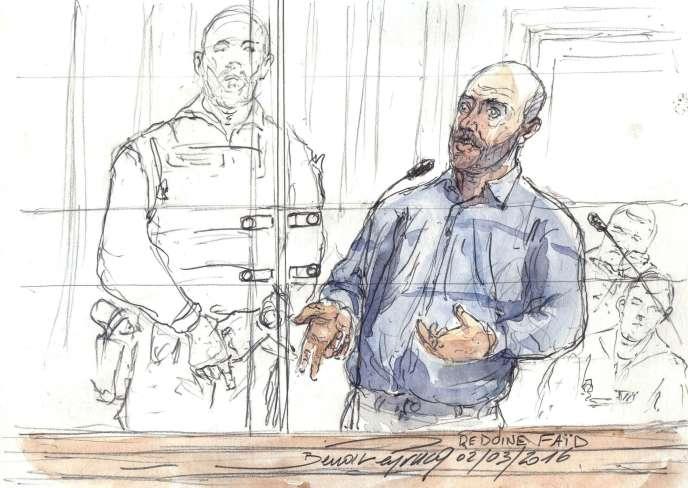 Redoine Faïd représenté lors de son procès aux assises, le 2 mars 2016.