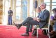 Guillaume Pepy, PDG de la SNCF, et Patrick Jeantet, PDG de la SNCF Réseau, assistent à une conférence de presse sur la réforme du système ferroviaire. À l'Hotel Matignon à Paris, lundi 26 février.