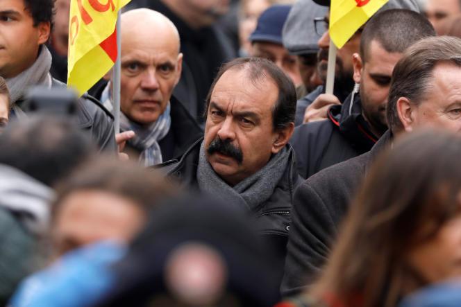 Philippe Martinez lors d'une manifestation à Paris, le 16 novembre 2017.