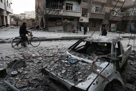 Dans l'enclave de la Ghouta orientale (Syrie), le 25février.