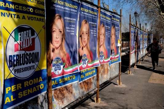 Affiches électorales à Rome, le 16 février.