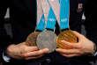 Les médailles de la patineuse de vitesse japonaise Miho Takagi, le 26février 2018.