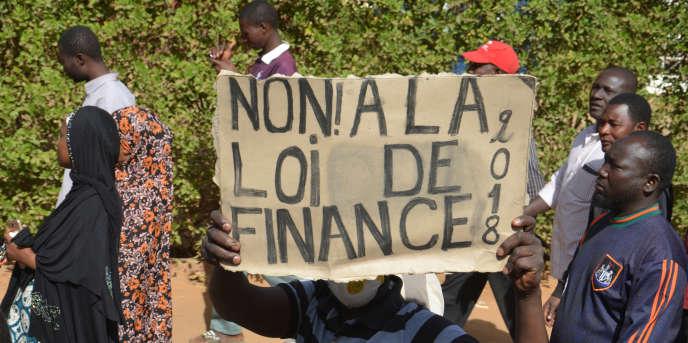 Manifestation contre la loi de finances 2018 à Niamey, au Niger, le 14janvier 2018.