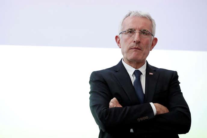 Guillaume Pepy, le président de la SNCF, lors de la présentation des résultats de l'entreprise, à Saint-Denis, le 27 février.