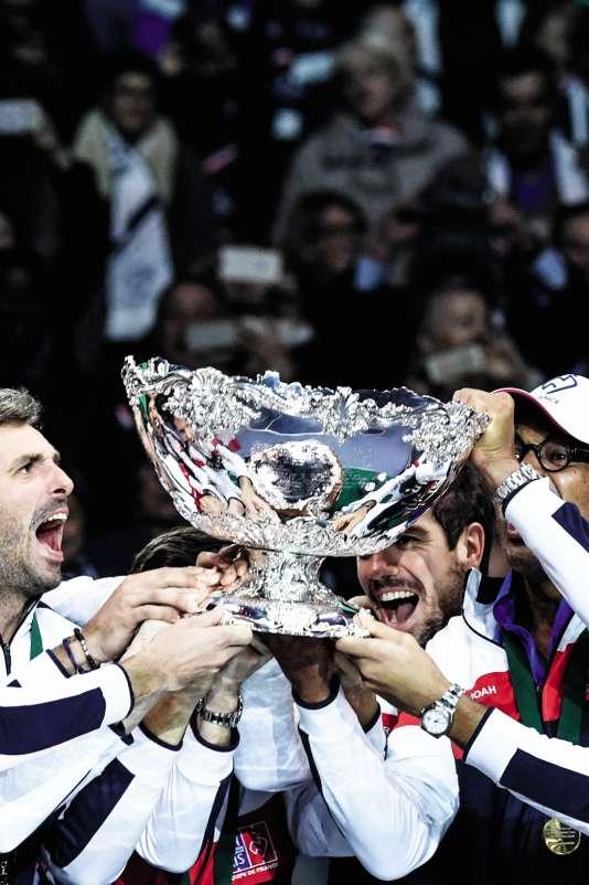 Finale de la Coupe Davis, qui a vu la victoire de la France face à la Belgique, le 26 novembre 2017, à Villeneuve d'Ascq.