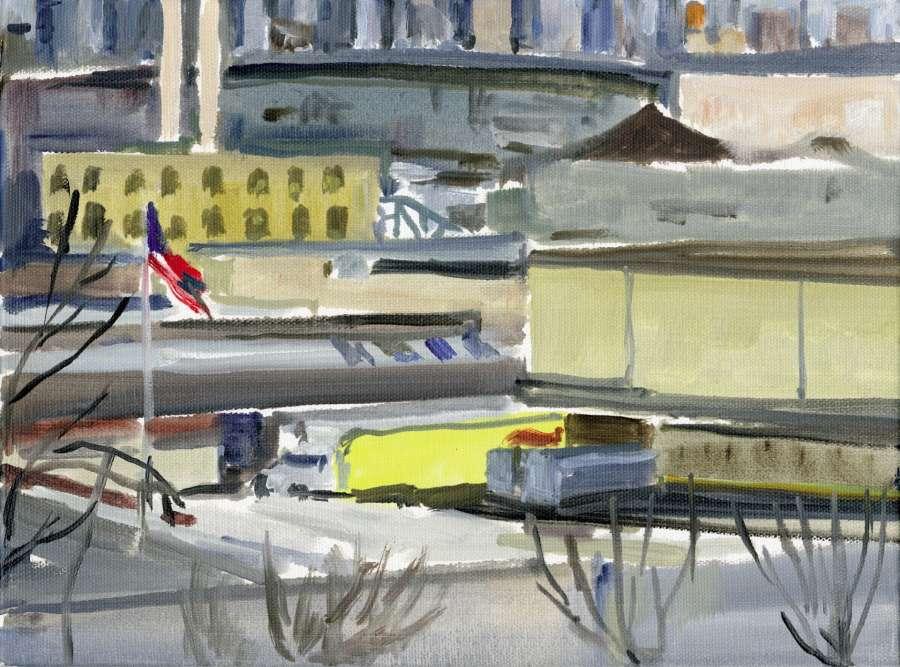 Le Camion jaune. «Les verrières de l'atelier de Ridgewood dominent un vaste paysage industriel, qui s'étend jusqu'à Manhattan. Je le peins parfois plusieurs fois par jour, et même de nuit, depuis près d'une dizaine d'années, sans pourtant m'en lasser car les variations de la lumière et des saisons révèlent sans cesse de nouveaux sujets. Ici, c'est le jaune citron d'un camion de chips Lay's, dernière lumière d'une journée d'hiver, avec au fond le Brooklyn-Queens Expressway et Manhattan déjà plongés dans une demi-obscurité.»
