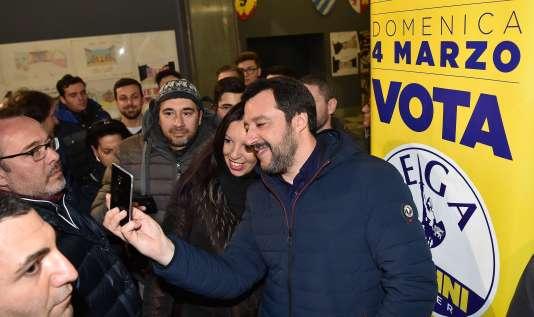 Matteo Salvini, le dirigeant de la Ligue, était en visite à Turin le 28 février.