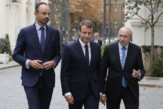 Edouard Philippe, Emmanuel Macron et Gérard Collomb, le 6septembre 2017.