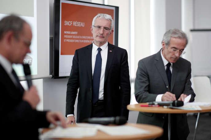 Guillaume Pepy, le président du directoire du groupe SNCF, lors de la présentation des résultats 2017 de son entreprise, à Saint-Denis, le 27 février.