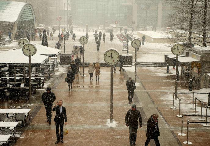 Tempête de neige à Londres en février 2018.