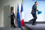 Emmanuel Macron, président français, donne une conférence de presse à la fin de la réunion des chefs d'Etat et de gouvernement des pays membres du groupe du G20 à Hambourg, Allemagne, samedi 8 juillet 2017