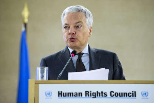 Le ministre belge des affaires étrangères, Didier Reynders, lors d'un discours à la 37e session du Conseil des droits de l'homme, au siège européen des Nations unies, à Genève, le 28 février.
