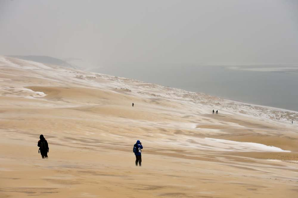Les dunes de la Teste-de-Buch, dans le sud-ouest de la France, le 28 février.En France, un tel épisode de baisse des températures à cette période de l'année n'avait pas été observé depuis 2005.