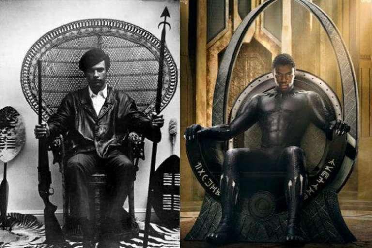 Huey P. Newton des Black Panthers en 1966 (à gauche) , et T'Challa dans le film Black Panther.