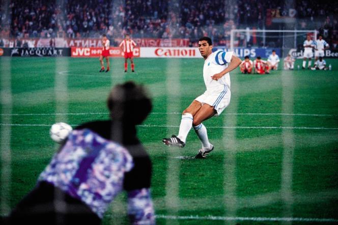 Séance de tirs au but entreMarseille et Belgrade, lors de la finale de la Ligue des champions 1991.