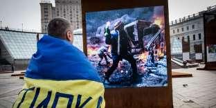 Célébration des 4 ans de la révolution ukrainienne, sur la place Maïdan, à Kiev, le 21 février.
